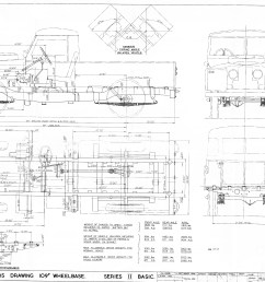 1962 land rover 109 basic chassis coach builders drawing  [ 4000 x 2848 Pixel ]