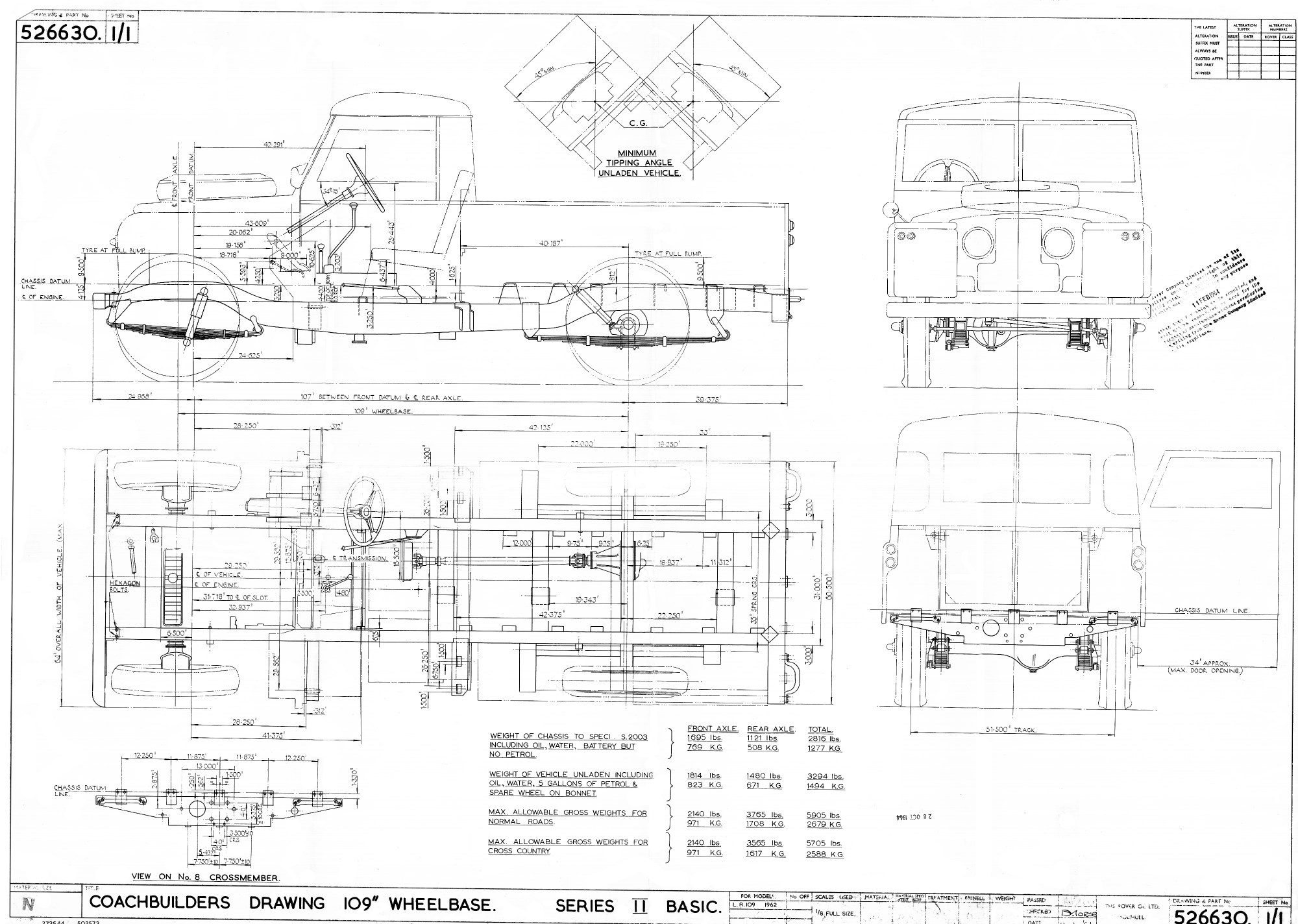 hight resolution of 1962 land rover 109 basic chassis coach builders drawing