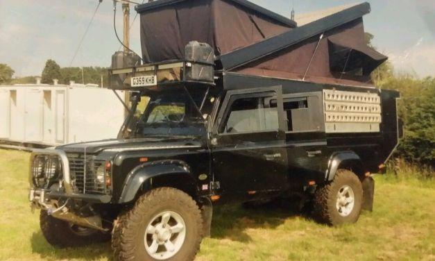 SOLD – Landrover Defender 130 expedition vehicle – pop top camper – uk