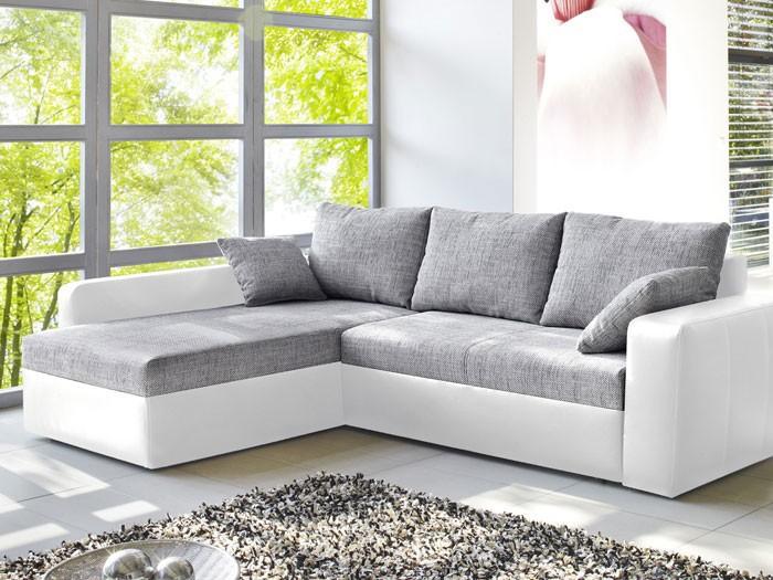 Ecksofa Vida 244x174cm grau weiss Schlafsofa Sofa Couch Polsterecke Wohnbereiche Wohnzimmer