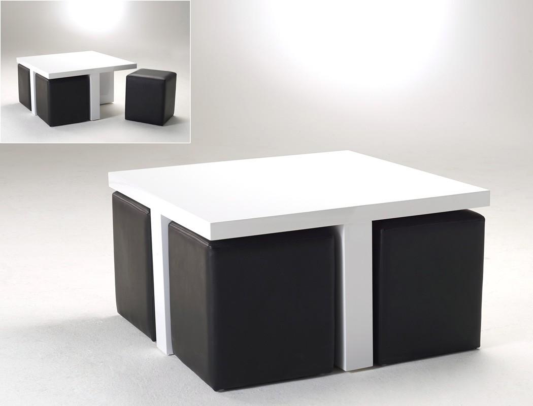 Couchtisch 80x46x80 Hochglanz wei mit 4 Hocker Kunstleder