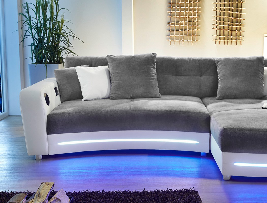 Multimedia Sofa 322x200cm grau wei Mikrofaser Couch HiFi Wohnlandschaft Larenio  eBay