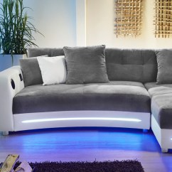 Sofas Couches Sofa Console Table Canada Multimedia 322x200cm Grau Weiß Mikrofaser Couch Hifi