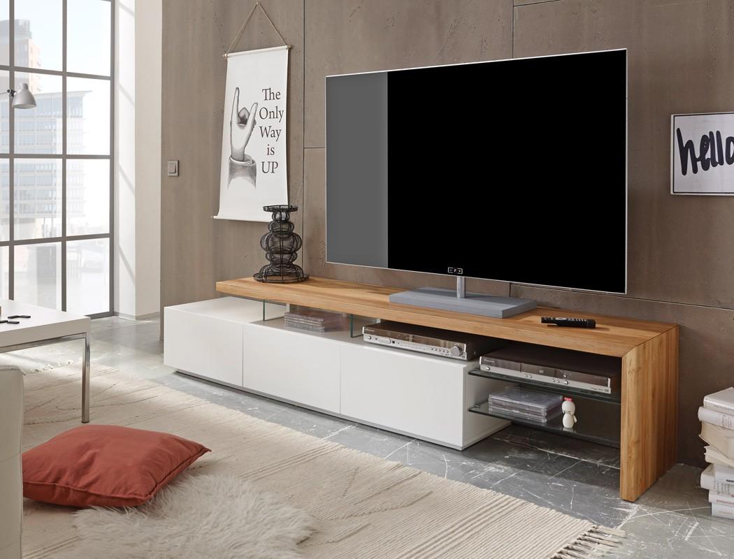 Lowboard 204x40x44cm wei Eiche TVBoard TVMbel TV