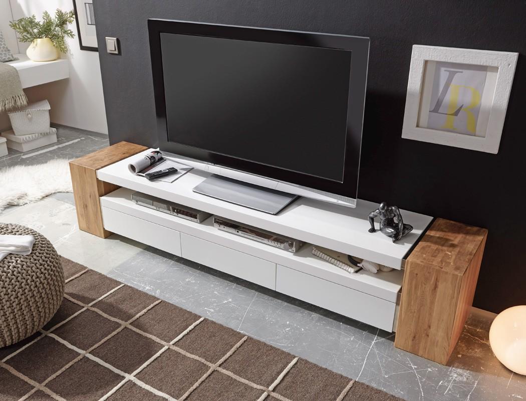 Lowboard 200x40x40 cm wei Eiche TVBoard TVMbel TVSchrank Wohnzimmer Juno II