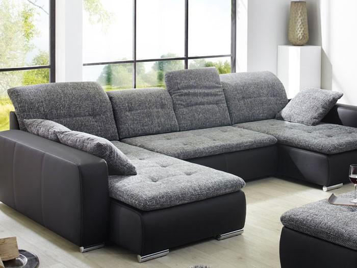 Wohnlandschaft mit Hocker Ferun 365x220185cm anthrazit schwarz Sofa Couch  eBay