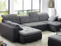 Sofa, Couch Ferun 365x200/185cm mit Hocker, anthrazit ...