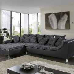 Sofa 250cm Velvet Cushion Covers Eckcouch Madeleine, 326x213cm, Webstoff Schwarz-grau ...