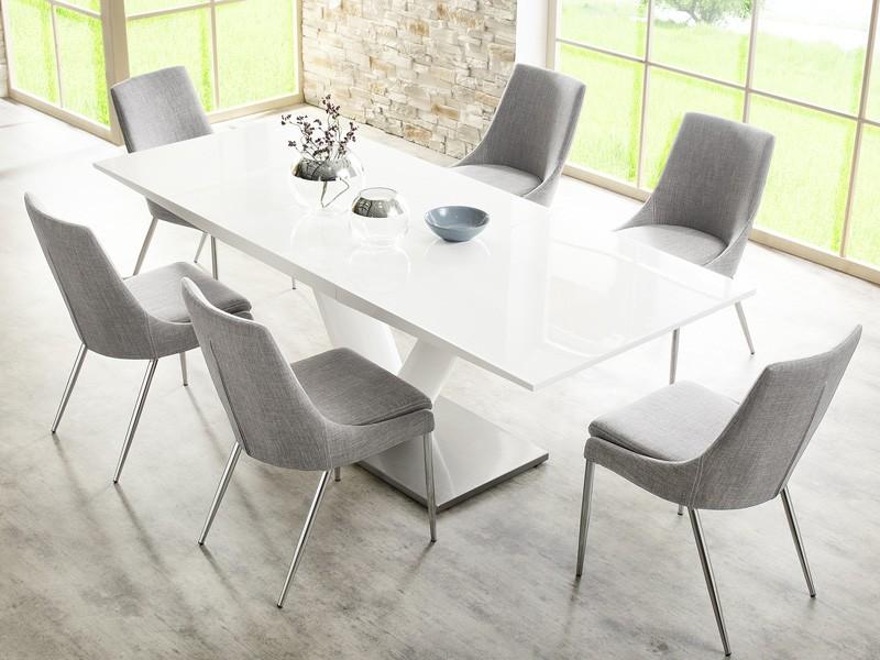 Esszimmerstuhl Stuhl grau chrom Wohnzimmerstuhl Retrodesign Polsterstuhl Alia  eBay