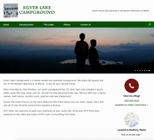 Silver Lake Campground and Lodge Website Screenshot