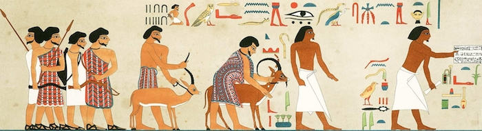 Illustration from tomb of Khnumhotep II at Beni Hassan showing Asiatic immigrants entering Egypt.