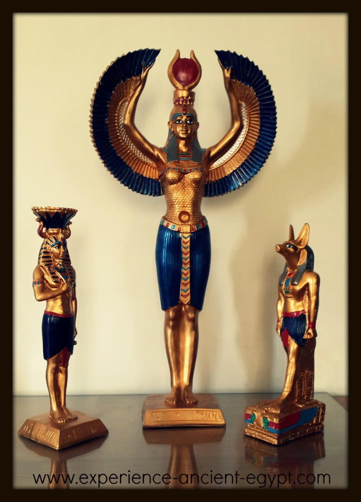 Winged Hathor with Pharaoh and Anubis