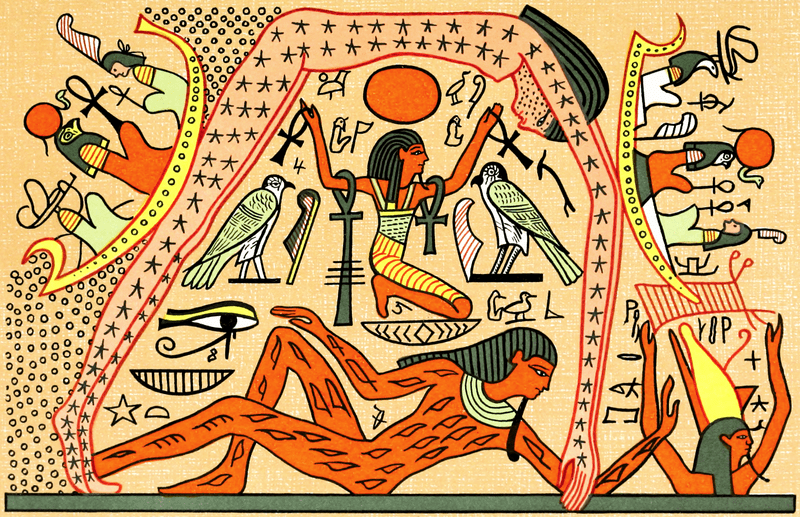 EEgyptian Goddess Nut being held up by Shu over Geb