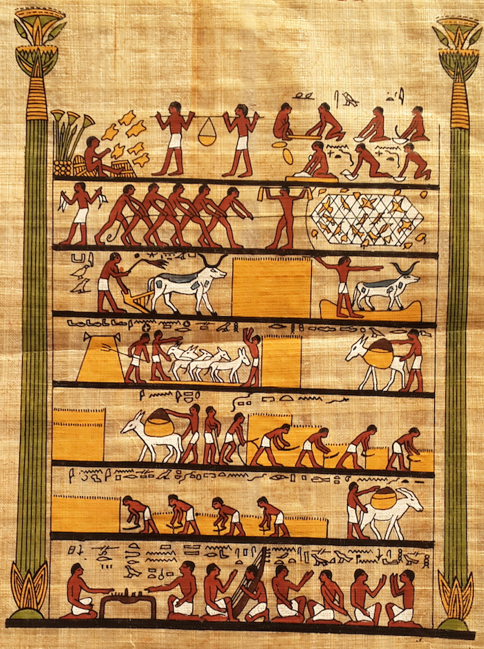 Egyptian papyrus Art - Work and Play
