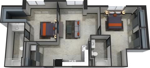2 Bed / 2 Bath / 981 sq ft / $300.00 / Rent: $1,850