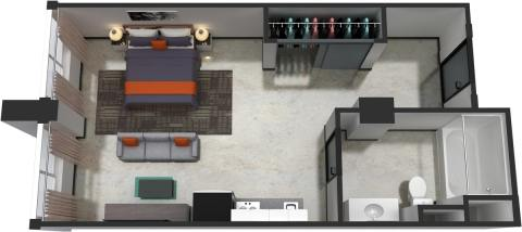 Studio / 1 Bath / 365 sq ft