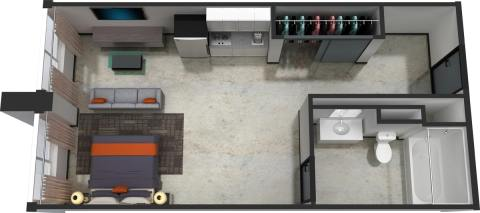 Studio / 1 Bath / 382 sq ft