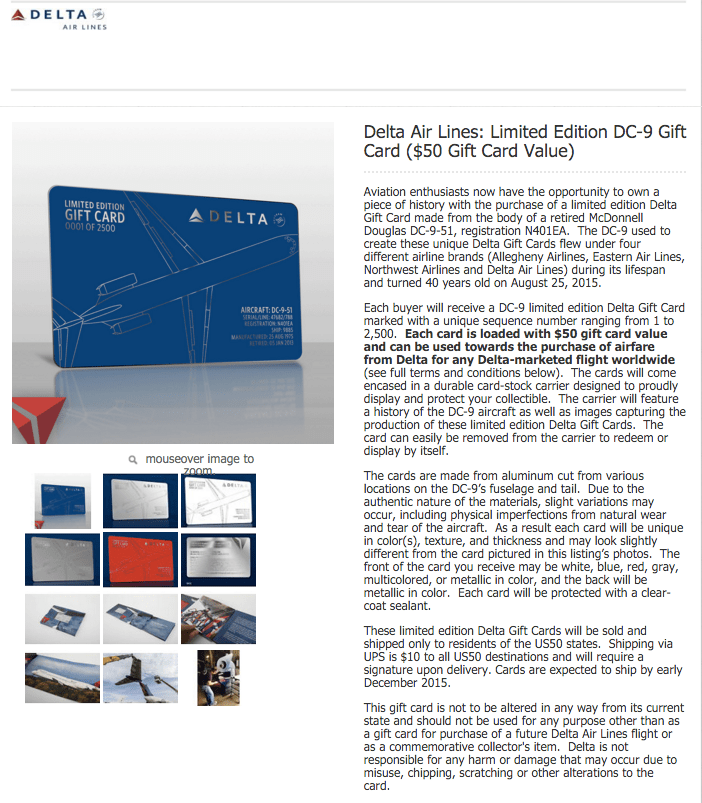 Delta Air Lines Sells Limited Edition Gift Cards Online ...