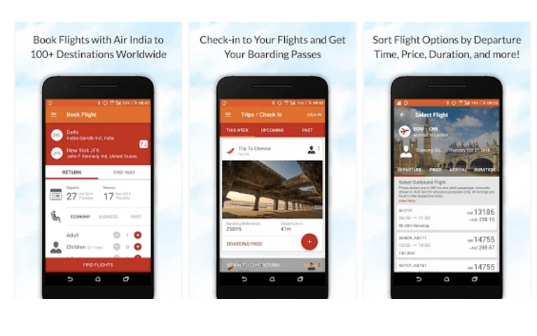 Air India Mobile Application Android Version