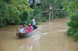 A family travelling through the waterways