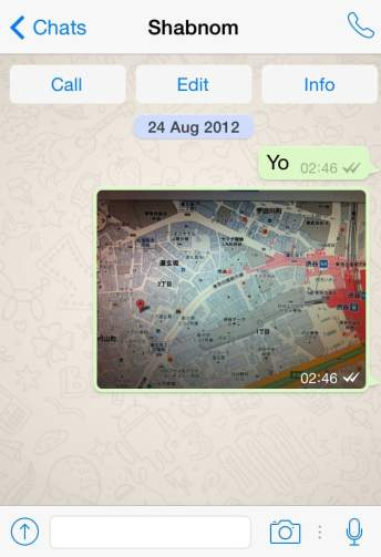A whatsapp message in action, I sent this map of Kobe, Japan to my friend.