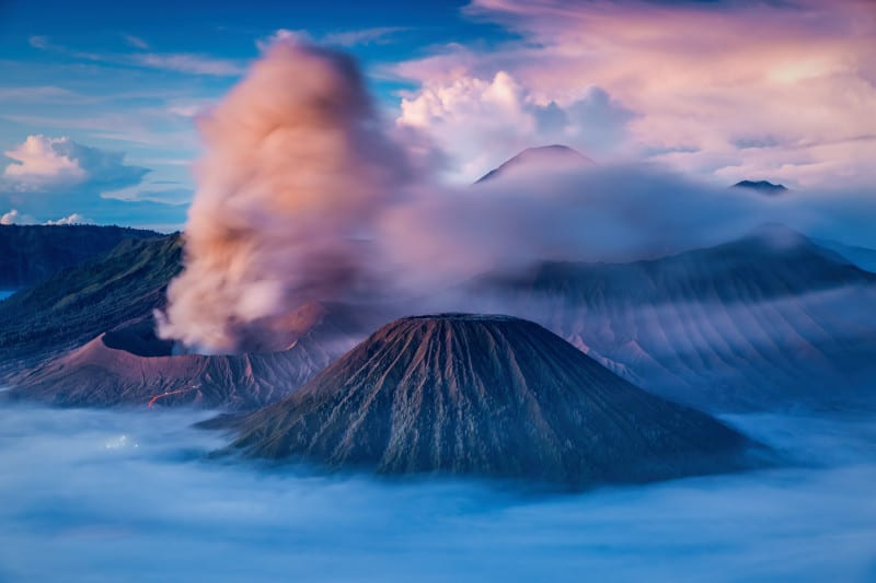 Bromo, Batok and Semeru volcanoes at sunrise, Java island, Indonesia