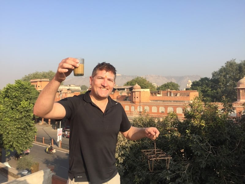 Robin enjpying a glass of chai in Jaipur