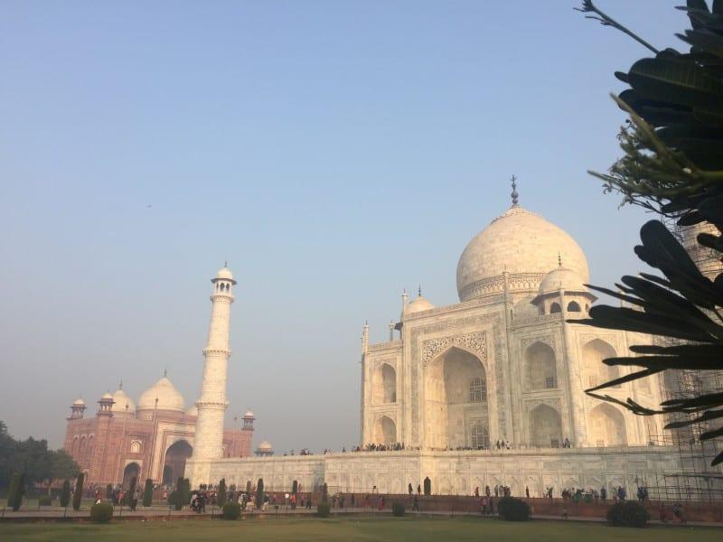 Unusual view of the Taj Mahal at Sunrise