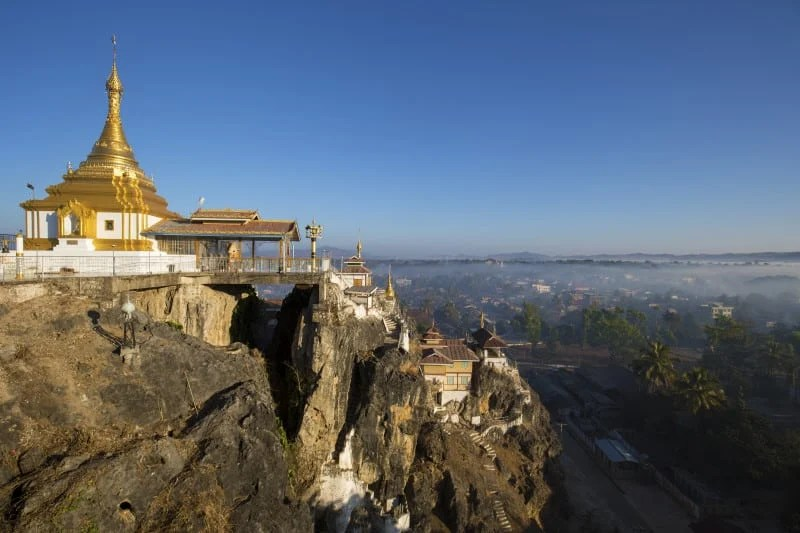 Taung Kwe Paya, an unusual buddhist temple erected on big rocks. It is the most famous temple of kaya state, Myanmar.