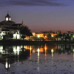 Vista de la aldea del Rocío en Almonte en la provincia de Huelva