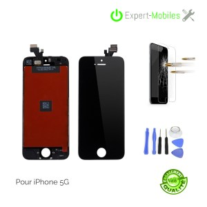 ECRAN LCD + VITRE TACTILE POUR  iPhone 5 NOIR PREMIUM