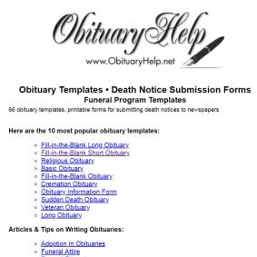 Obituary Template Forms Printable Programs