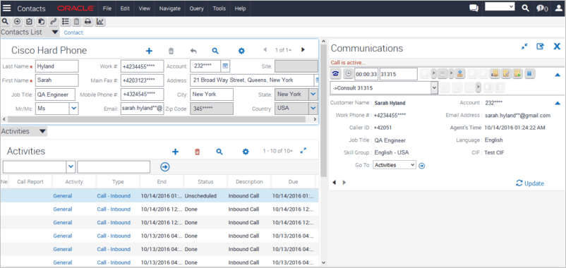 Siebel CRM Telephoy Controls For Cisco Call Center UCCX