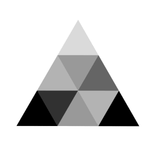 Logo expertise bâti bois : triangle en dégradés de noir