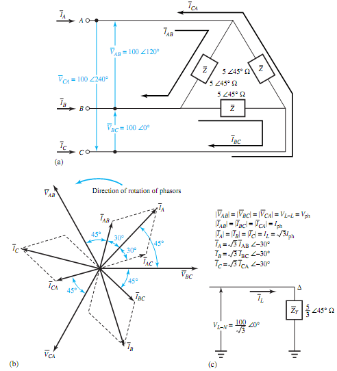 Illustrate balanced delta-connected load, Electrical