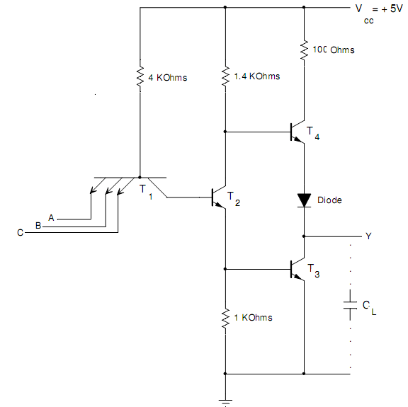 Explain a TTL NAND gate and its operation, Computer