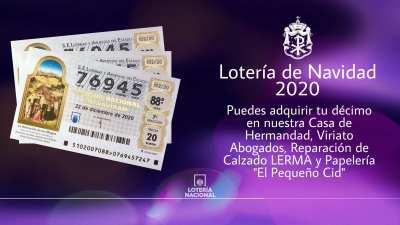 Décimo de lotería 76945, para Navidad 2020.
