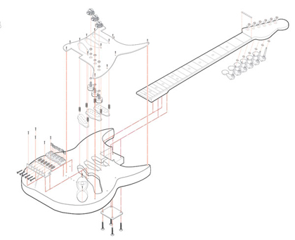 Isometric Exploded Guitar