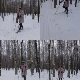 Just a montage of failure - I decided to try and reverse into place for the photo. On XC skis. Who's your freaking mate?!