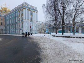 The back entrance to Catherine's Palace at Pushkin.