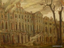 An artist's rendition of what the palace looked like after WW2 bombings.