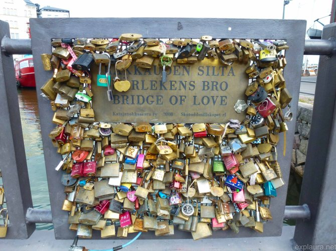 Love locks are put on bridges in Finland, just like in Russia.  This is part of the official 'bridge of love' for 2008.
