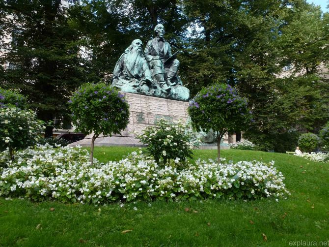 A statue of some of the characters from the Kalevala, an epic Finnish poem incorporating creation myths and basically everything else.