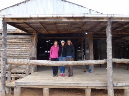 The three of us standing in the sheep shearing shed at Zanci :)