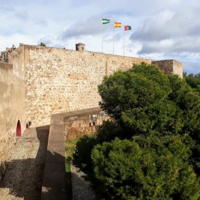 Part of the wall of the fortress overlooking Málaga