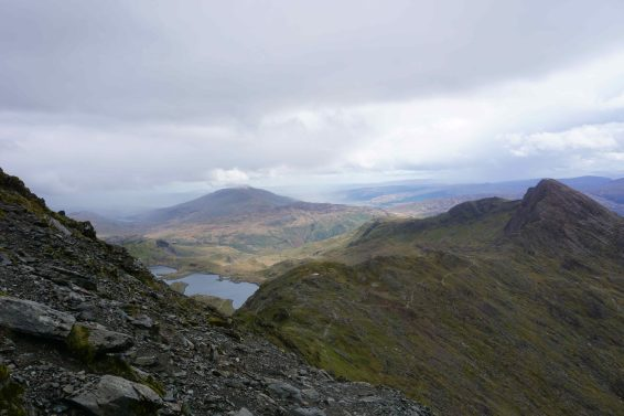 A ridge line in the mountains in Wales
