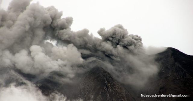 Mount Sinabung on Nov 28,2013  that plume about 300m produce of ash and smoke, this is cotinuesly eruption