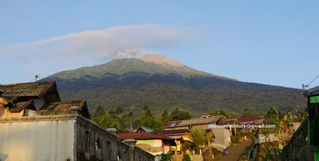 Slamet Volcano Mountain from the Village at eastern flank