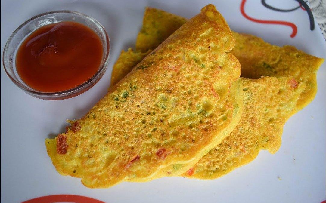 Besan-Suji Cheela/Gram Flour-Semolina  Pancake