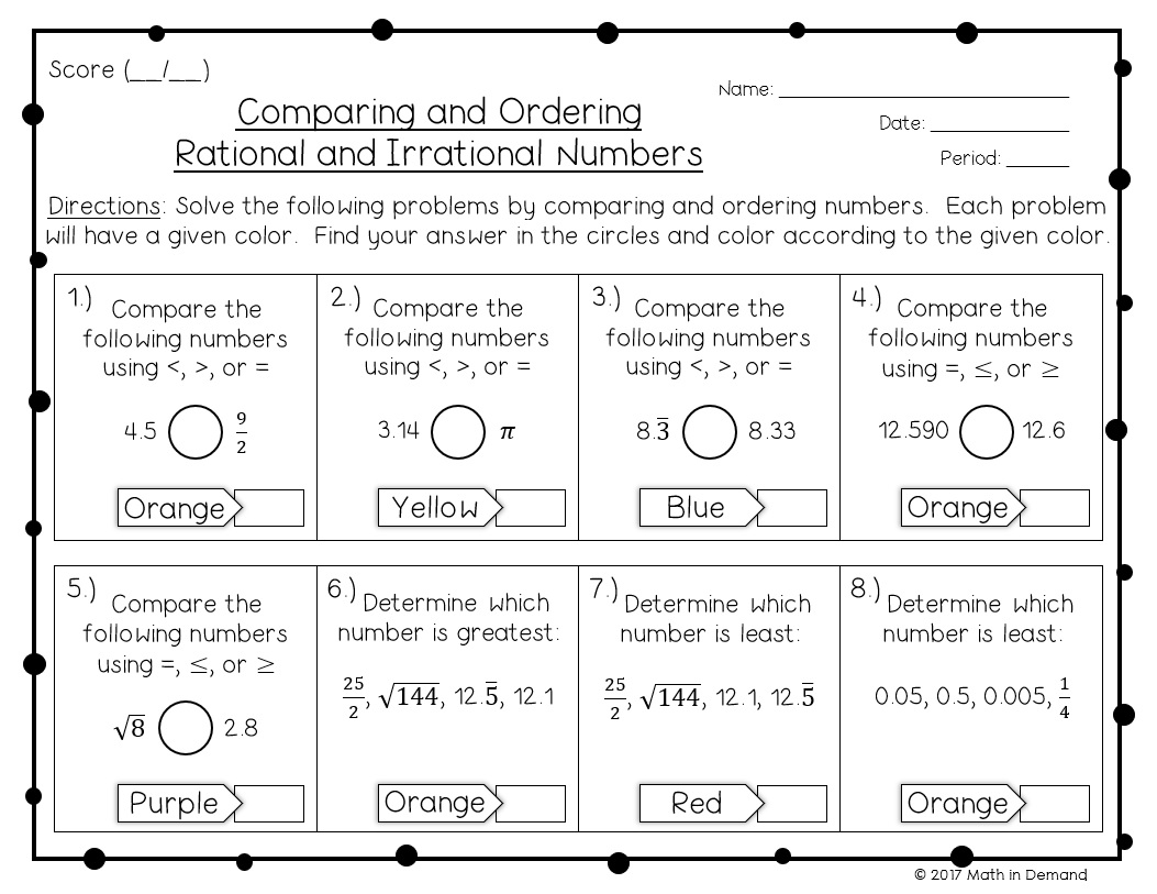 Comparing And Ordering Rationals Amp Irrationals Coloring Worksheet